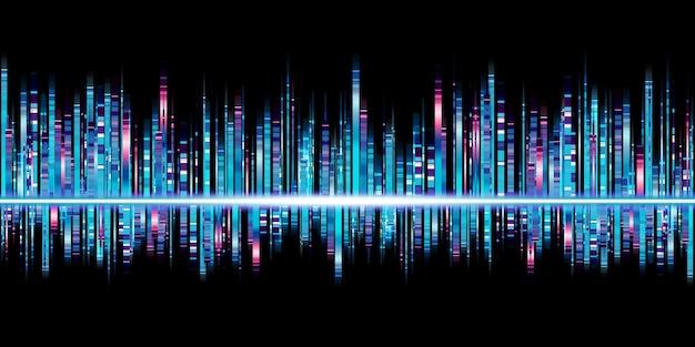Espectro de frequência da música azul onda sonora equalizador listras de luz ilustração 3d