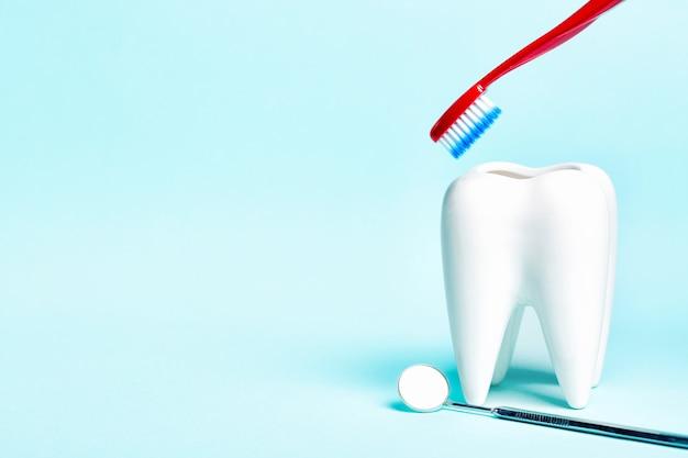 Espelho dental perto de modelo de dente branco saudável com escova de dentes sobre fundo azul claro.