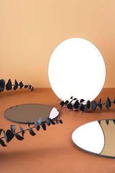 Espelhos redondos entre galhos de eucalipto