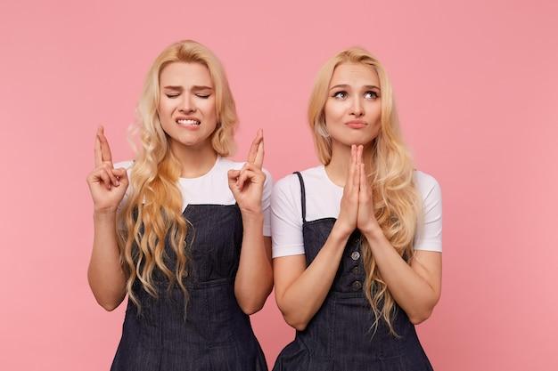 Esperando jovens atraentes irmãs loiras de cabelos compridos vestidas com roupas elegantes, mantendo as mãos levantadas enquanto fazem desejos, em pé sobre um fundo rosa