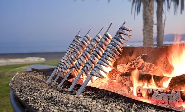Espessura de sardinha com fogo ao pôr do sol