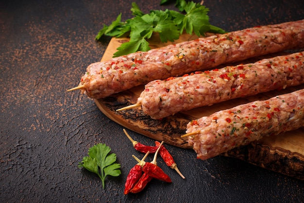Espetos de carne picada lula kebab