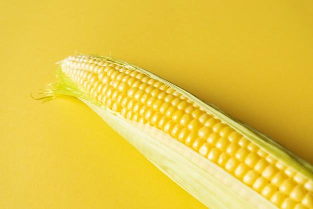 Espiga de milho doce em fundo amarelo