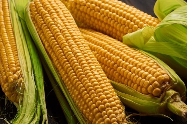 Espiga de milho fresca na mesa de madeira rústica, closeup