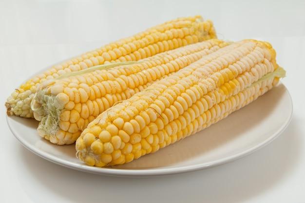 Espigas de milho congeladas em um prato de porcelana com fundo branco