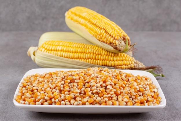 Espigas de milho frescas com grãos de milho crus