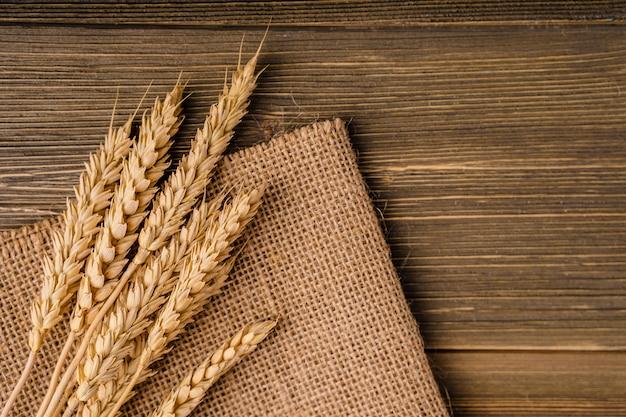 Espigas de trigo repousam sobre o saco de estopa de hesse. fundo, textura