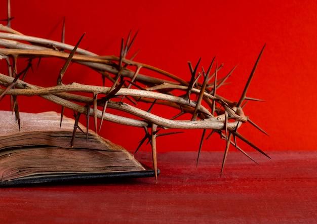 Espinhos de coroa e a bíblia ou livro sobre o fundo vermelho, copie o espaço.
