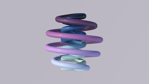 Espiral azul e roxa brilhante ilustração abstrata, 3d render.