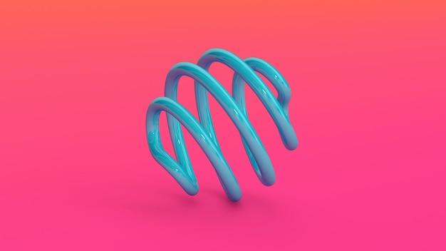 Espiral brilhante azul. fundo rosa. ilustração abstrata, renderização 3d.