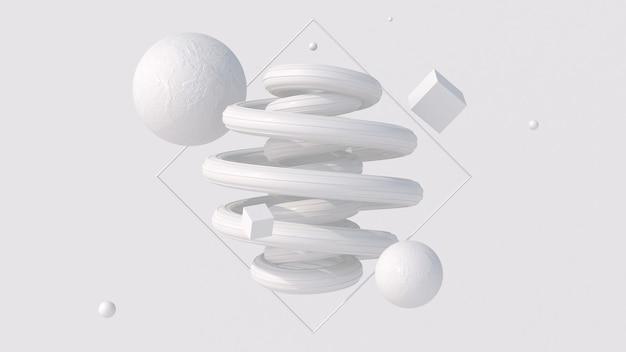 Espiral brilhante branco e formas texturizadas composição de arte monocromática ilustração abstrata d render