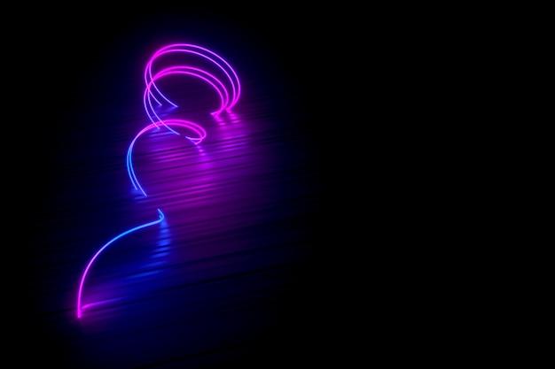 Espiral de néon deitado na ilustração 3d brilhante superfície preta
