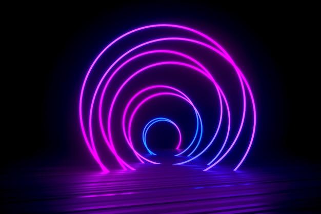 Espiral de néon deitado na superfície preta brilhante