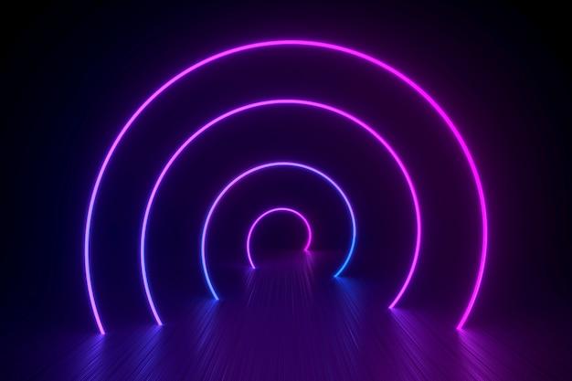 Espiral de néon sobre uma superfície preta brilhante