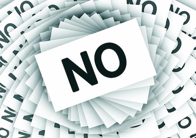 Espiral negativa rejeição nenhum cancelamento cartões