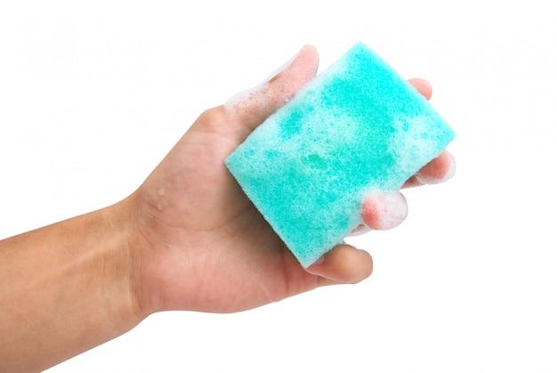 Esponja na mão