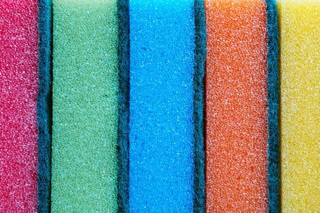 Esponjas coloridas em hd de fundo de textura de cozinha