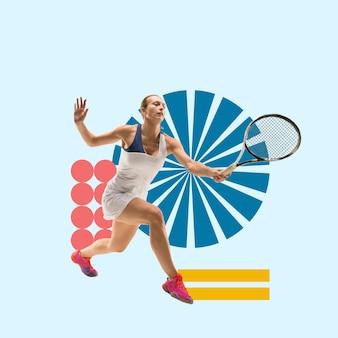 Esporte criativo e estilo geométrico tenista em movimento de ação sobre fundo azul