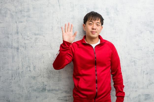 Esporte jovem, aptidão, chinês, mostrando, numere cinco