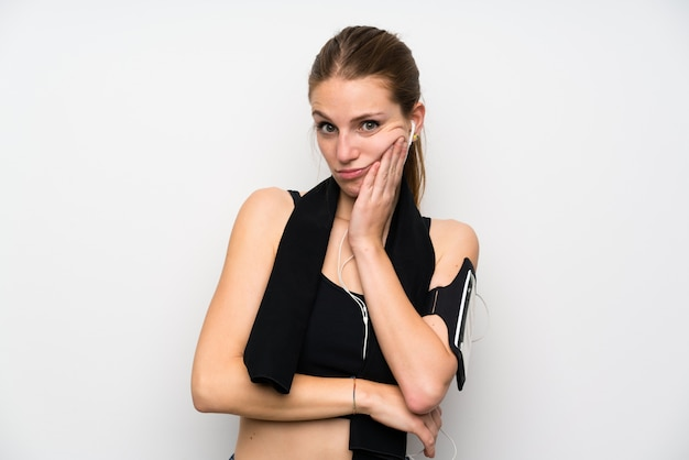 Esporte jovem mulher infeliz e frustrada