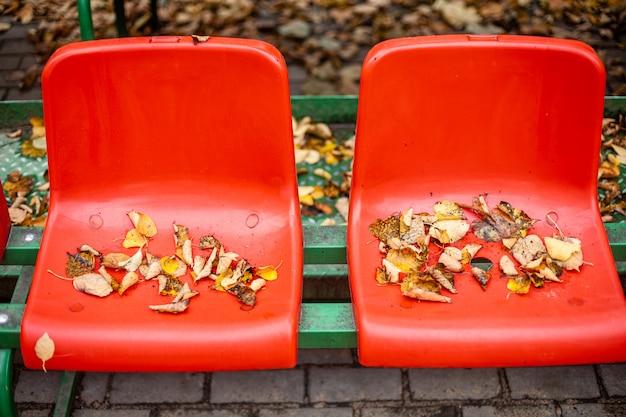 Esportes vazios vermelhos fica nas folhas no outono.