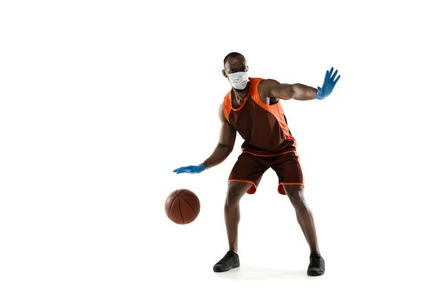 Esportista no conceito de ilustração de tratamento de máscara protetora de coronavírus