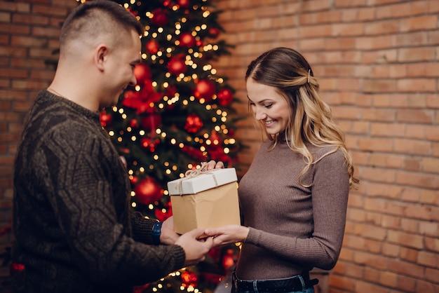 Esposa feliz ganha um presente de natal do marido