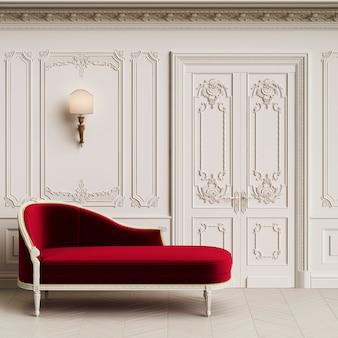 Espreguiçadeira clássica no interior clássico com espaço de cópia