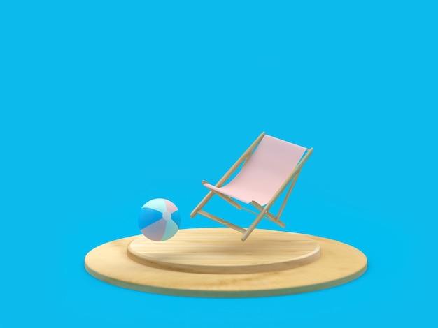 Espreguiçadeira com bola de praia em um suporte