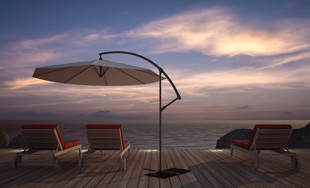 Espreguiçadeira com guarda-chuva no terraço de madeira com vista para o mar ao entardecer, imagem renderizada em 3d
