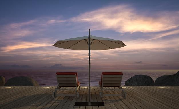 Espreguiçadeira com guarda-chuva no terraço de madeira com vista para o mar ao entardecer, renderização em 3d