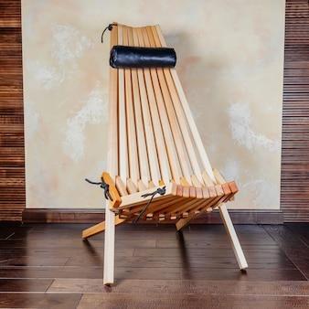 Espreguiçadeira dobrável de madeira moderna