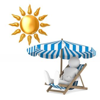 Espreguiçadeira e guarda-sol e sol no espaço em branco. ilustração 3d isolada