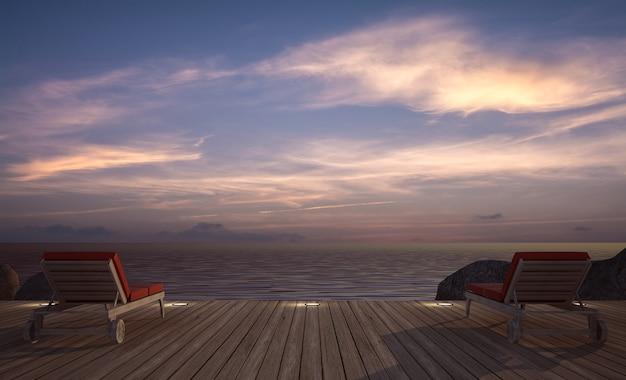 Espreguiçadeira no terraço de madeira com vista para o mar no crepúsculo, renderização em 3d