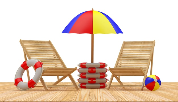 Espreguiçadeiras de madeira com guarda-sol em bóias salva-vidas