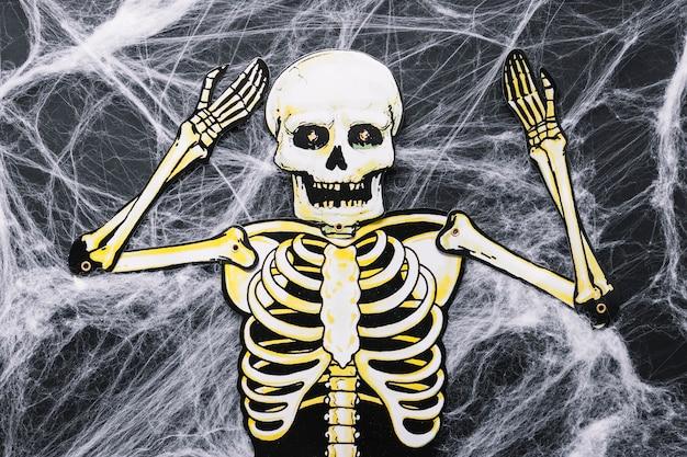 Esqueleto de papel na teia artificial