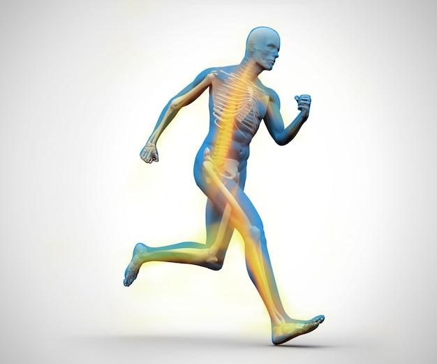 Esqueleto digital azul e amarelo correndo