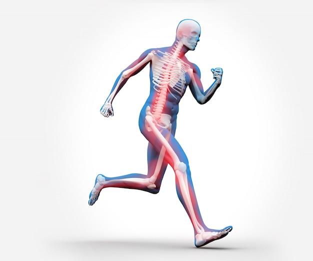Esqueleto digital azul e vermelho correndo