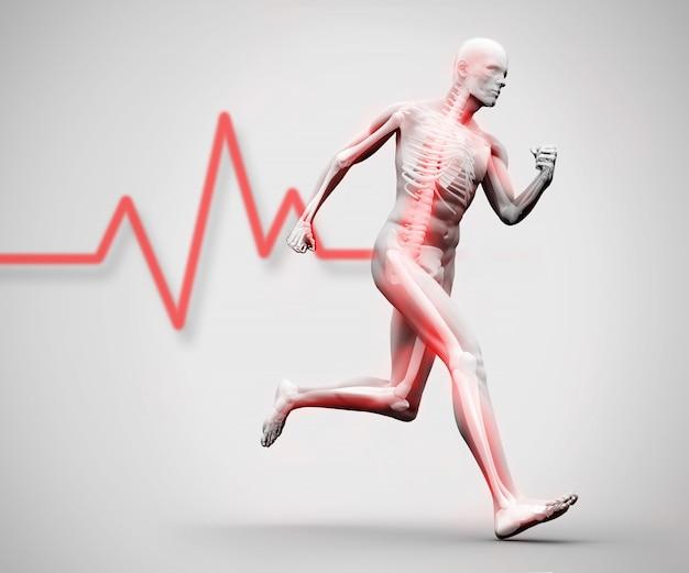 Esqueleto digital branco e vermelho correndo