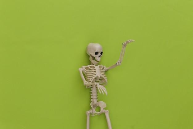 Esqueleto falso em verde. decoração de halloween, tema assustador