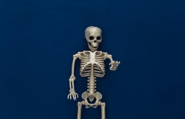 Esqueleto falso no clássico azul escuro. decoração de halloween, tema assustador