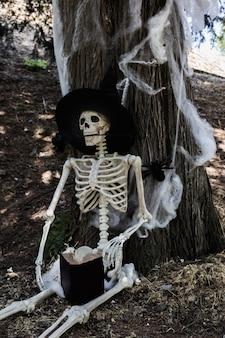 Esqueleto no chapéu de bruxa sentado perto da árvore