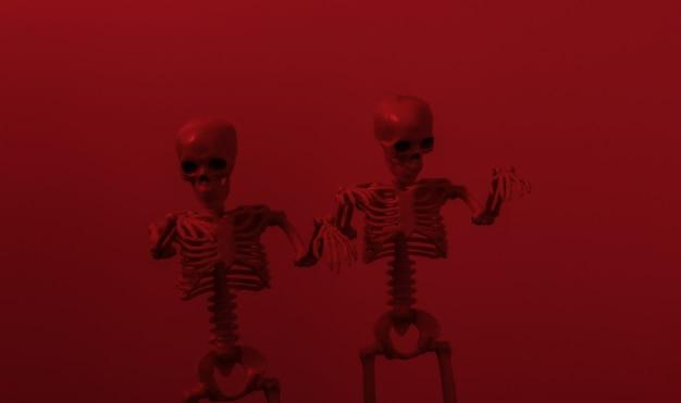 Esqueletos assustadores em luz vermelha escura