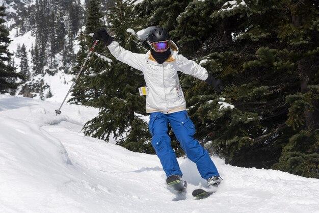 Esquiador, prática, whistler, columbia britânica, canadá