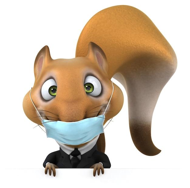 Esquilo de desenho animado 3d divertido com uma máscara