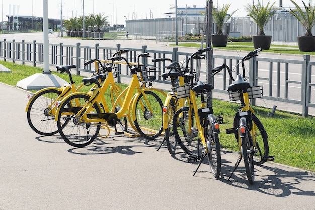 Estação de aluguel de bicicletas na rua. transporte urbano