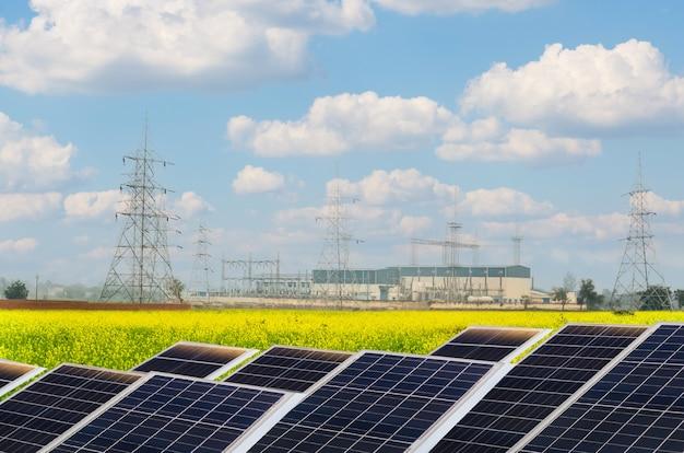 Estação de energia elétrica com painéis solares fotovoltaicos para produção de energia elétrica ecológica limpa