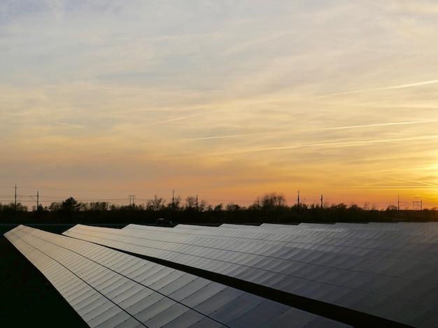 Estação de energia solar cercada por árvores
