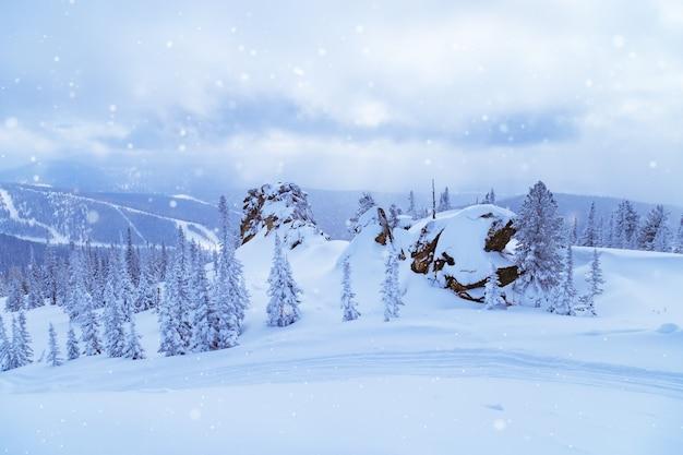Estação de esqui sheregesh na rússia paisagem de inverno com árvores na neve