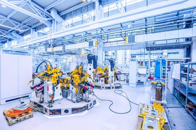 Estação de medição e teste na fábrica de automóveis